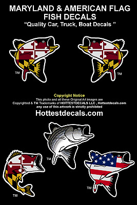 new products f98e0 92bea MARYLAND FISH DECAL STICKER Striped Bass Large Mouth Rockfish Vinyl Truck  Flag