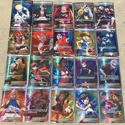 100pcs Trainer Cards Pokemon Flash Card Lot Holo Trading GX Cards NO REPEAT