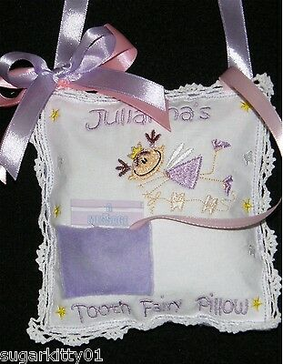 Personalized Tooth Fairy Pillow w/Charm Lavender & Light Pink Free Shipping