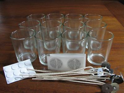 12 Clear Glass Votive - Candle Making Wedding + Wicks, Stickums, Warning labels