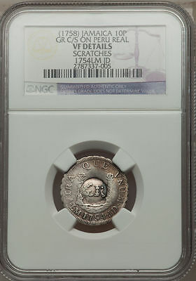 "1758 Jamaica 10 Pence ""GR"" Counterstamp on 1754 Peru Real NGC VF Details Rare"