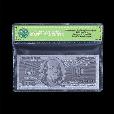 US $100 Silver Banknote Real 99.9 Silver Pure Dollar Bill Note Free Mylar Sleeve