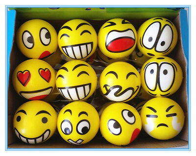 12 x EMOJI STRESS BALLS Hand Relief Squeeze BALL Reliever Antistress Soft Smiley