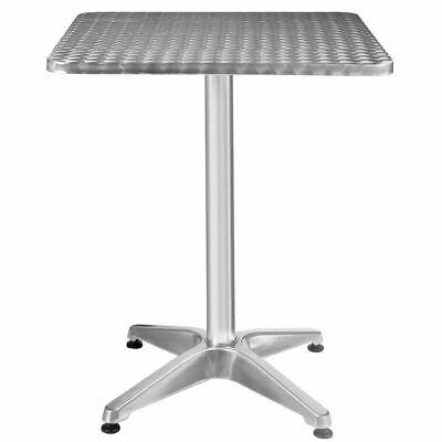 "Aluminum Stainless Steel Square Table 23 1/2"" Patio Pub Restaurant Adjustable"