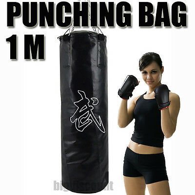 1 M Punch Bag Kick Boxing Punching MMA Gym Kungfu Martial Arts Unfilled Black