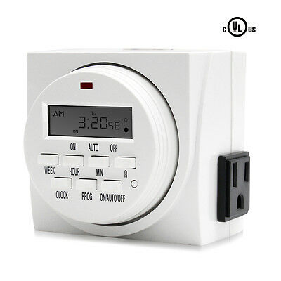 VIVOSUN 7-Day Dual Outlet Programmable Digital Timer Light Switch LCD Display