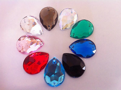 Sew/Glue On Acrylic Teardrop Diamante Crystal Rhinestone No Hotfix Flatback Bead