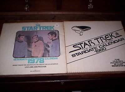 2 STAR TREK THE MOTION PICTURE STARDATE CALENDARS 1980 & 1978- opens to 13x24-