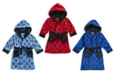 CARGO BAY Kids Boys Football Dressing Gown Soft Flannel Fleece Hooded Night Robe