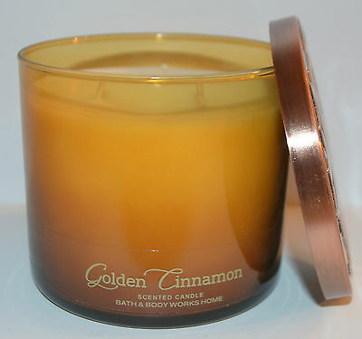 New Bath & Body Works Golden Cinnamon Yellow Scented Candle 3 Wick 14.5Oz Large