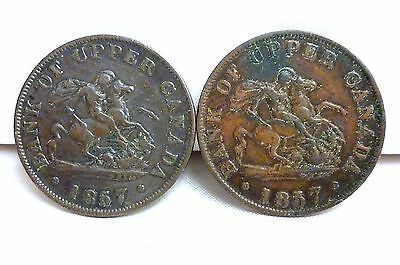 2 x 1857 HALF PENNY TOKENS BANK OF UPPER CANADA  FREE SHIPPING  I-1331