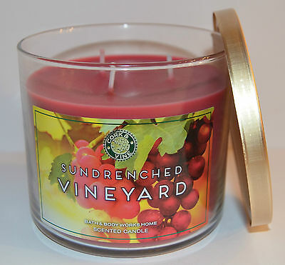 New Bath & Body Works Sundrenched Vineyard Scented Candle 3 Wick 14.5 Oz Large