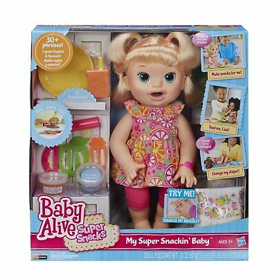 New Hasbro Baby Alive Doll My Super Snackin Baby B0632