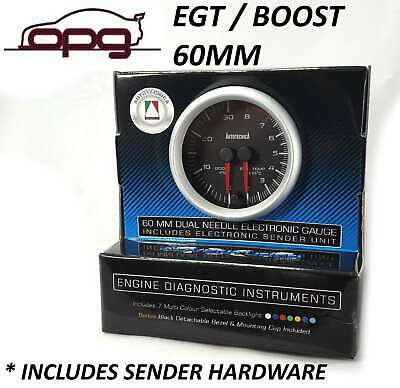 60Mm Dual Gauge Performance Diesel Egt & Boost Analog Black Face 7 Colour Light