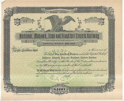HERKIMER MOHAWK ILION AND FRANKFORT ELECTRIC RAILWAY Eagle Stock Certificate