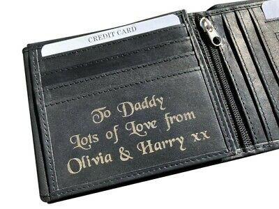 Men's Personalised Engraved Black Soft Leather Wallet Mens Birthday Gift Dad