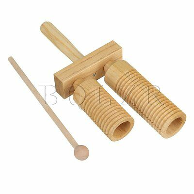 Durable Percussion Wood A-Go-Go 2 Rows Natural Finish Musical Instrument