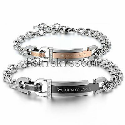 His and Hers Lover Stainless Steel Glary LoveChain Couple Cuff Bangle Bracelet