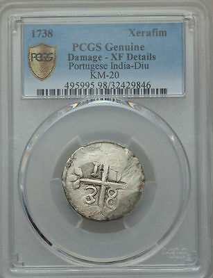 1738 Portugese India Diu Xerafim PCGS XF Details - Light Damage