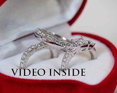 3.8 Carat Created Diamond Engagement Ring in Real 925 Sterling Silver
