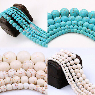 20-100Pc Howlite White/Blue Turquoise Gemstone Round Loose Space Bead 4/6/8/10MM