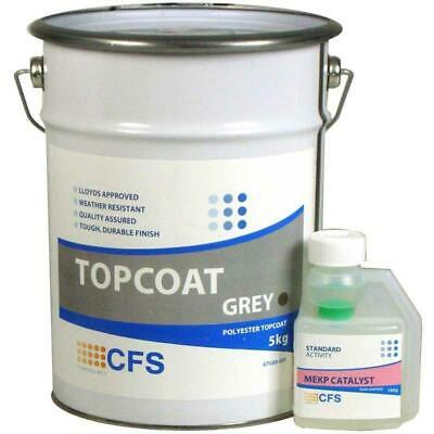 Lloyds Approved Fibre Glass Flowcoat Top Coat Grey with Hardener - CHOOSE SIZE