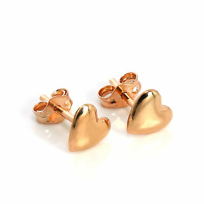 18ct Rose Gold Dipped 925 Sterling Silver Heart Stud Earrings Love Hearts Studs