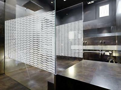 Decorative Wave Patterned Window Film, Frosted Vinyl Privacy Glass Covering CO