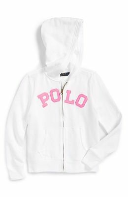 Ralph Lauren Girls Junior Teens Kids Long Sleeve Hoodie Hooded Top - White Pink
