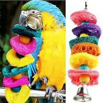 Bird Or Parrot Toy - Hanging Loffa Toy - Bell - Wood - Colour - Bright - Fun