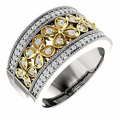 Genuine Yellow & White Diamonds 3/8 ct tw 14K. Solid Gold Flower Style Band Ring