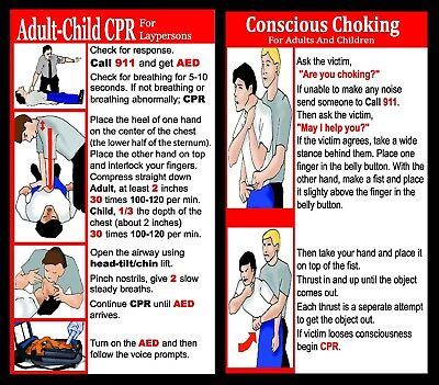 4 Panel CPR/Choking/Stroke/Heart Attack/Falls/Shock Reference Cards  LOT OF 100