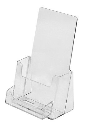Clear Acrylic Tri-Fold Brochure Holder with Business Card Pocket