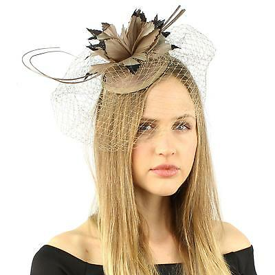 Fancy Quill Swirl Wool Veil Feathers Headband Fascinator Cocktail Hat Cap Taupe