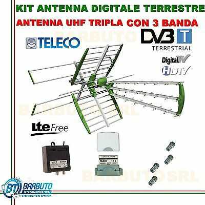 KIT ANTENNA COMBO TV DIGITALE TERRESTRE 32dbLTE TELECO+AMLIFICATORE+ALIMENTATORE