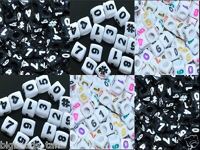 100pcs cube white, black numbers acrylic beads 6 mm, 7 mm