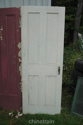 "Antique Vintage 1850s Solid Wood 4 Panel House Door 76.5 x 28.75"" Thumb Latch"