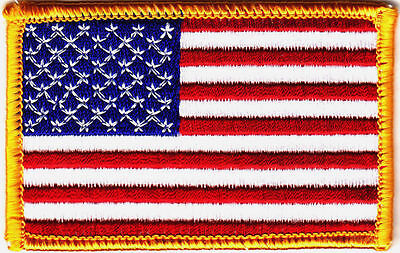American US flag embroidered patch with gold border