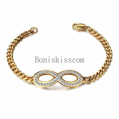 Infinity Symbol Charm Braided Chain Stainless Steel Bangle Bracelet Women's Gift