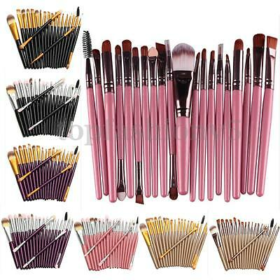 Set 20 Pennelli Foundation Eyeliner Ombretto Trucco Cosmetici Make Up Brush Kit