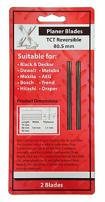 2 TCT POWER PLANER BLADES REVERSIBLE 82mm 80mm K20 FIT ALL MAKES PLANE TREND
