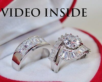 5ct Solitaire Brilliant Created Diamond Engagement Ring Real 925 Sterling Silver