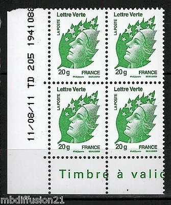2011-Bloc-Timbres//coin Date**marianne De Beaujard-Lettre Verte**stamp N°4593