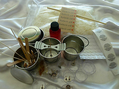 Candle Making Soy Wax Kit 4 Outdoor Tin Buckets 4 Silver Tins JUG & all you need