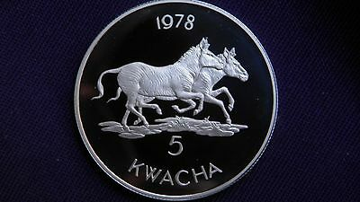 1978 Malawi 5 Kwacha Zebras Silver Proof Coin