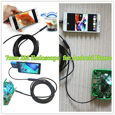 New 7mm 2M Endoscope Video Camera Borescope Snake Probe Tube for Android Phone