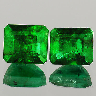 HY44 VS~ AAA RARE PAIR 0.95ct NATURAL BRIGHT GREEN EMERALD CUT COLOMBIAN EMERALD