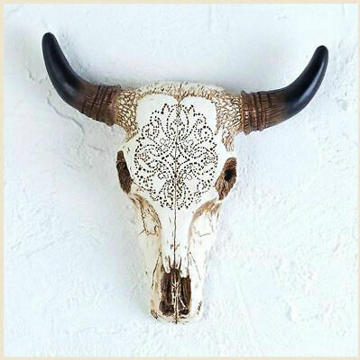 Western Tooled Bull Cow Skull Sculpture for Wall or Table - Ranch, Country Style