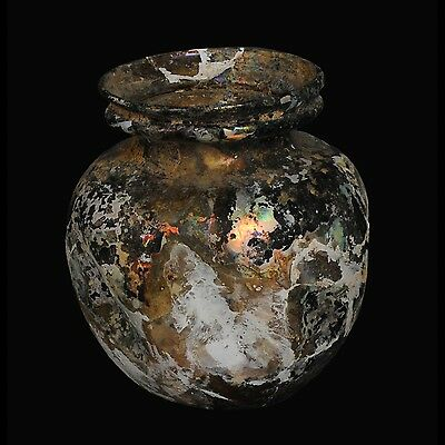 Aphrodite- Ancient Roman Glass Jar With Indentations
