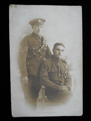 RPPC Real Photo WW1 Soldiers Two British?Canadian? Armed Forces,stripes Cavalry?